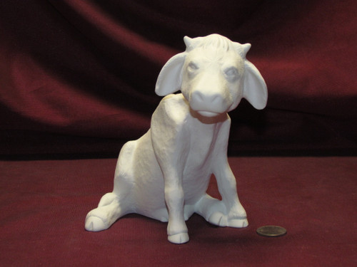 Ceramic Bisque Sitting Cow pyop unpainted ready to paint diy
