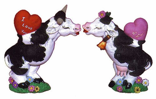 Ceramic Bisque U-Paint Set of 2 Valentine Cows Ready to Paint Cow Bovine Farm Animal