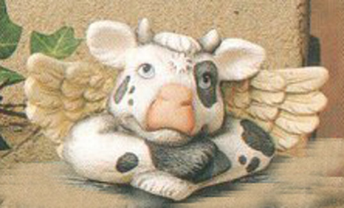 Ceramic Bisque U-Paint Cow Angel - Shelf Sitter Ready to Paint Cow Bovine Farm Animal