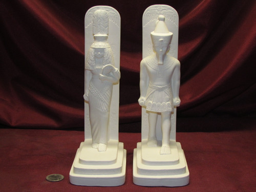 Ceramic Bisque U-Paint Egyptian Bookend Set Queen Tiy and Striding Pharaoh Man Unpainted Ready To Paint DIY