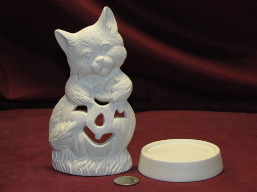 Ceramic Bisque U-Paint Cat with Pumpkin Candle Holder Halloween unpainted ready to paint diy