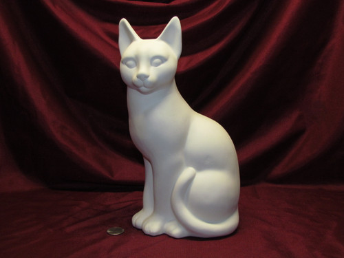 Ceramic Bisque U Paint Large Plain Sitting Cat Kitty Feline unpainted ready to paint diy