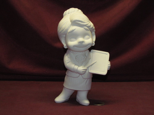 Ceramic Bisque U-Paint Small Smiley Woman Teacher Happy Vintage Unpainted Lady Female pyop unpainted ready to paint diy