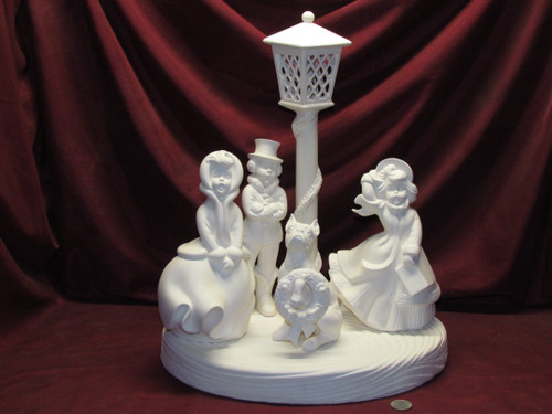Ceramic Bisque U Paint Atlantic Caroler Set ~ With Base ~ Crystal Snowflake Frosty Boxer Dog Ready to Paint Christmas Winter Cute Unpainted diy