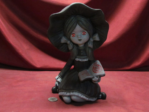 Black & White Wendy With Red Eyes ~ Hand Painted Bisque ~ Ready to Display