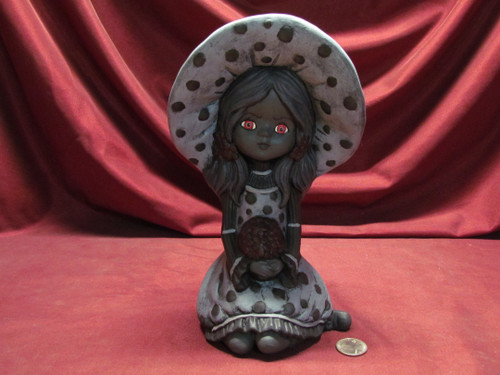 Black & White Phyllis With Red Eyes ~ Hand Painted Bisque ~ Ready to Display