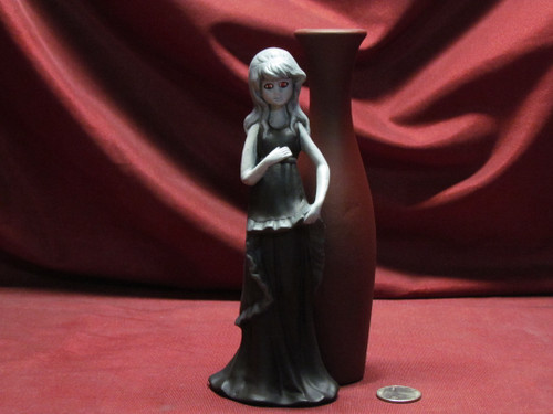 Black & White Missy With Vase With Red Eyes ~ Hand Painted Bisque ~ Ready to Display