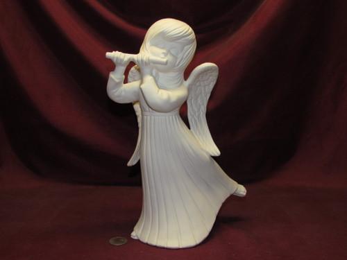 Ceramic Bisque Atlantic Angel with Flute