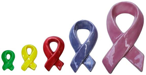 Ceramic Bisque U Paint  Set of 5 Awareness Ribbons ~ Support a Cause Ribbon pyop unpainted ready to paint diy