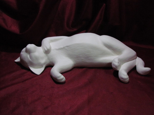Ceramic Bisque Sleeping Cat U-Paint Ready to Paint Kitty