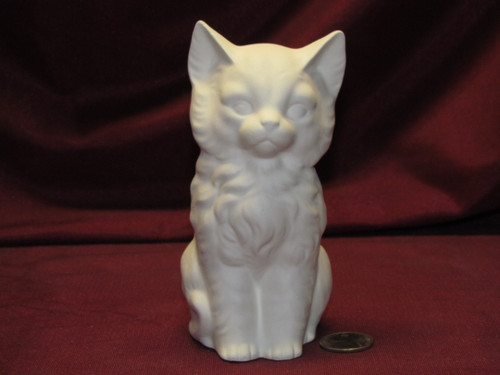 Ceramic Bisque U-Paint Sitting Kitten Cat Unpainted Ready To Paint DIY Kitty