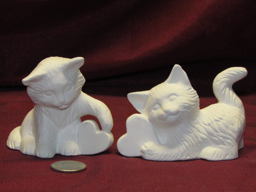 Ceramic Bisque U-Paint Set of 2 Valentines Kittens Cat Ready to Paint Unpainted
