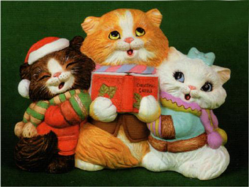 Ceramic Bisque U-Paint Cat Carolers Ready to Paint Christmas Unpainted