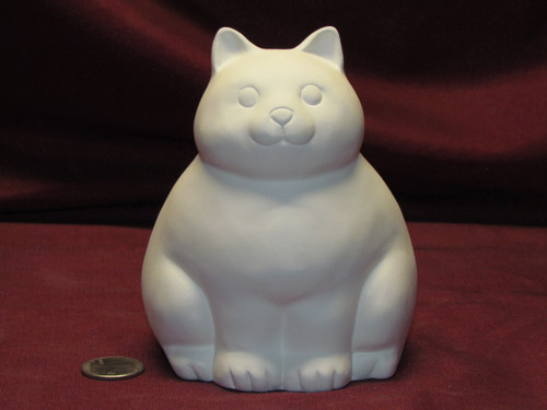Ceramic Bisque U-Paint Fat Cat Sitting Ready to Paint Kitten Chonky Chunky Kitty