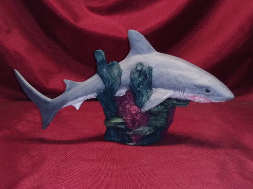Realistic Shark On Reef Base ~ Hand Painted Bisque ~ Ready to Display