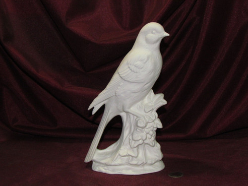 Special Listing ~ Ceramic Bisque Robin On Log Base and Duncan Song bird pyop unpainted ready to paint diy