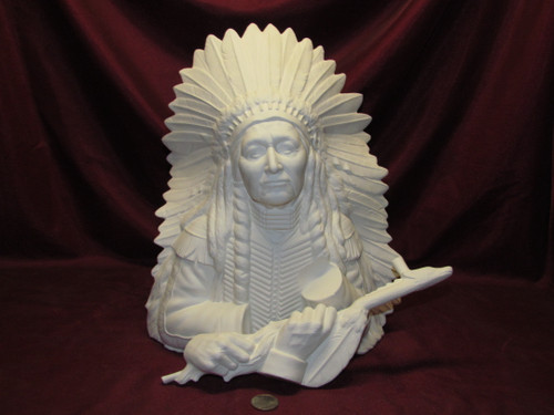 Special Listing ~ Ceramic Bisque Bust Native American Chief with pipe