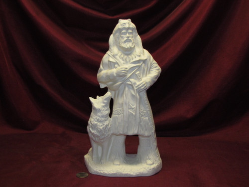Ceramic Bisque U Paint Mountain Man with Wolf ~ Ready to Paint Unpainted DIY