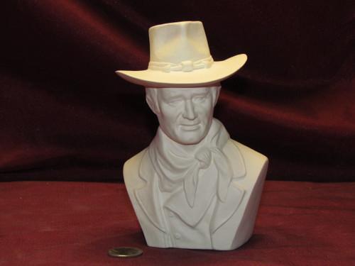 Ceramic Bisque U-Paint Bust John Wayne Unpainted Ready to Paint