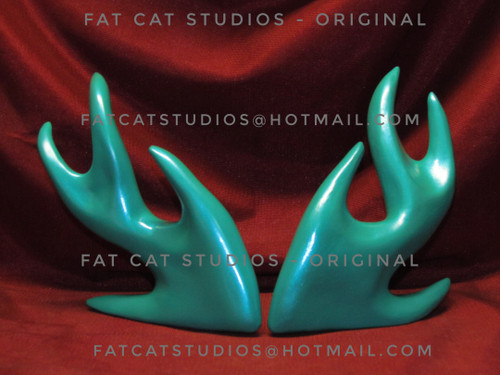 Modern Fish ~ Aqua (right & left) ~ Hand Painted Bisque ~ Ready to Display