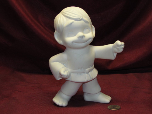 Ceramic Bisque U-Paint Small Smiley Karate Boy Happy Vintage Unpainted unpainted ready to paint diy
