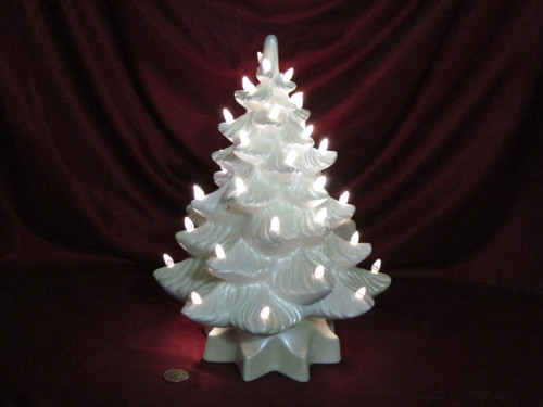 Christmas Tree ~ White with Blue Sheen ~ Hand Painted Bisque ~ Ready to Display
