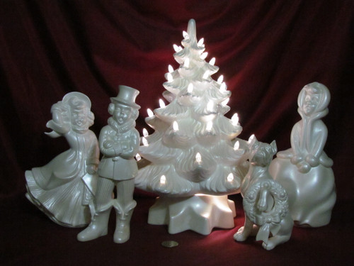 Carolers With Tree ~ White with Blue Sheen ~ Hand Painted Bisque ~ Ready to Display