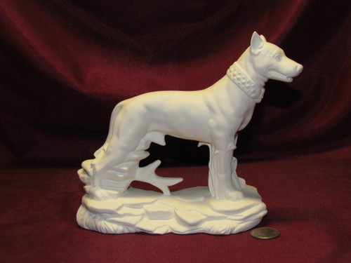 Ceramic Bisque American Pit Bull Terrier Dog On Rock Base unpainted ready to paint diy