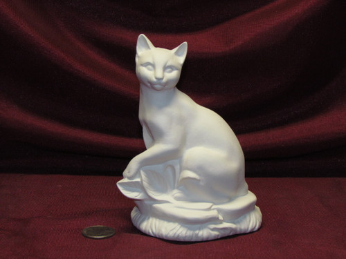 Ceramic Bisque Abyssinian Cat on a Rock Base unpainted ready to paint diy
