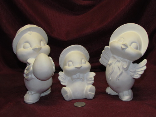 Ceramic Bisque U-Paint Sparrow Bird Family Unpainted Ready To Paint DIY Spring