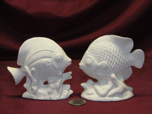 Ceramic Bisque U-Paint Set of 2 Saltwater Tropical Fish Unpainted Ready To Paint