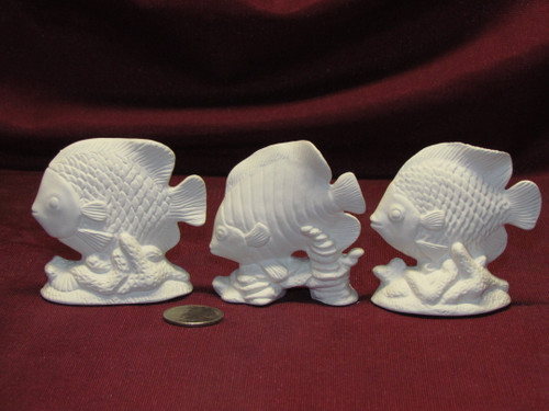Ceramic Bisque U-Paint Set of 3 Small Saltwater Fish Unpainted Ready To Paint