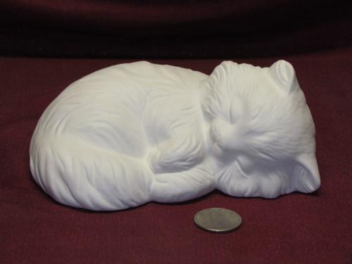 Ceramic Bisque U-Paint Sleeping Kitty Cat ~ Kitten Unpainted Ready To Paint DIY