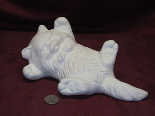 Ceramic Bisque U-Paint Playful Kitty Cat ~ Kitten on Back Ready To Paint