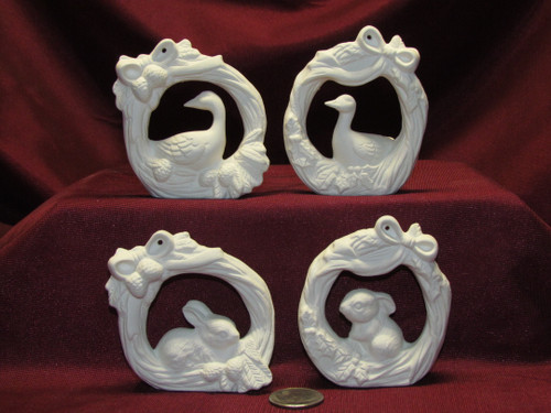 Ceramic Bisque Set of 4 Wreath Duck and Bunny Rabbit Christmas Ornaments U Paint