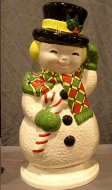 Ceramic Bisque U Paint Happy Snowman with Base Ready to Paint Christmas