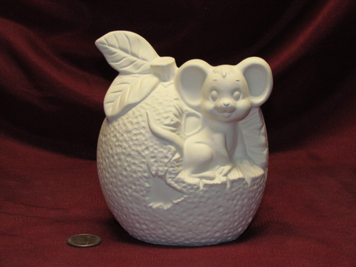 Ceramic Bisque U-Paint Mouse in Orange Unpainted Ready To Paint Mice Fruit