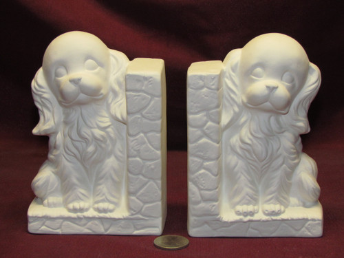 Ceramic Bisque U-Paint Set Of 2 Puppy Dog Bookends Left And Right Ready to Paint Unpainted DIY