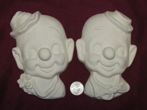 Ceramic Bisque U-Paint Set of 2 Clown Wall Hanging Ready to Paint Circus Vintage