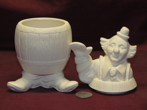 Ceramic Bisque U Paint Barney ~ Clown in a Barrel Ready to Paint Unpainted
