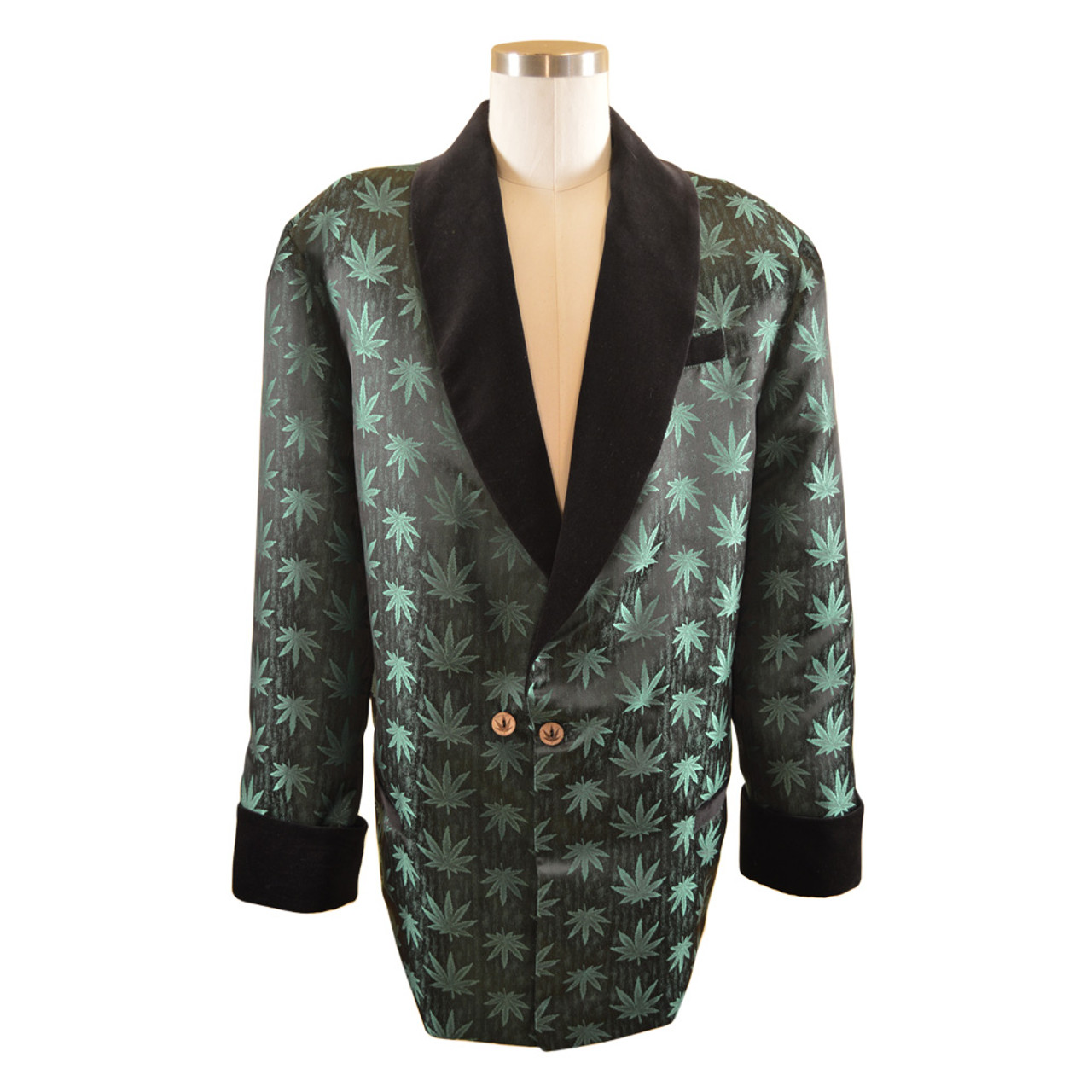 68ac4811fd3 Men s Marijuana Print Smoking Jacket