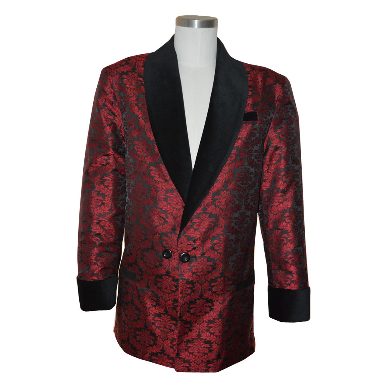 b253c772c Men's Wine Brocade Smoking Jacket