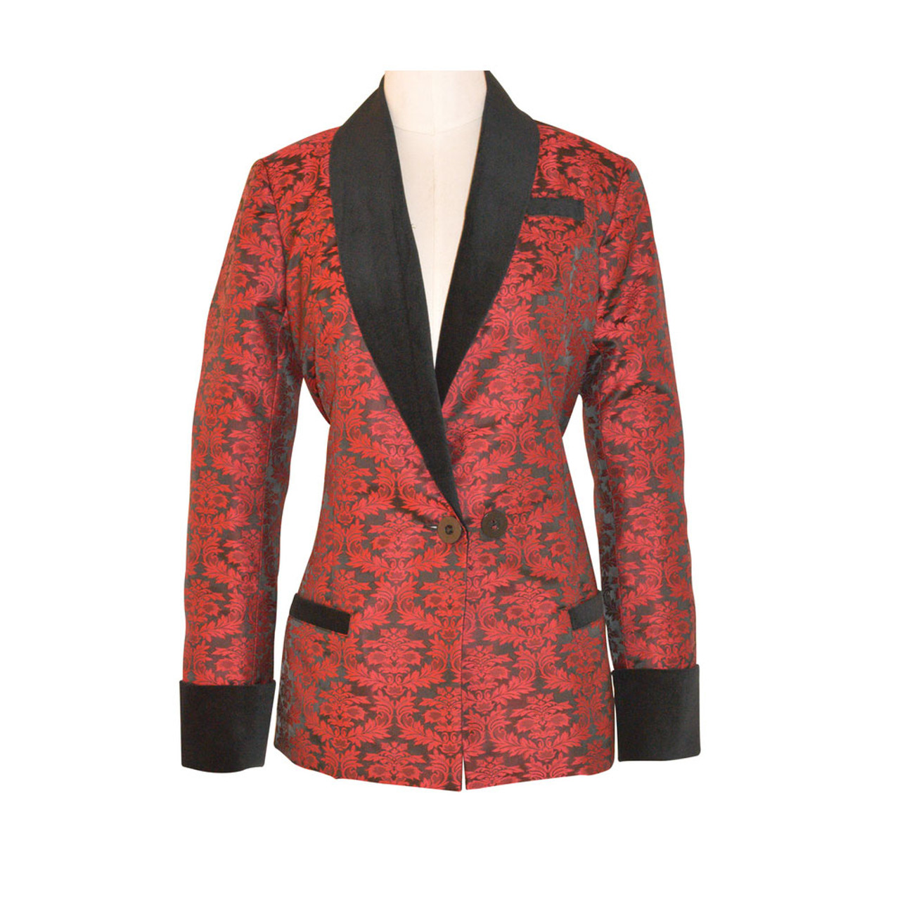 246c0f2680d Women s Wine Brocade Smoking Jacket with Black Lining