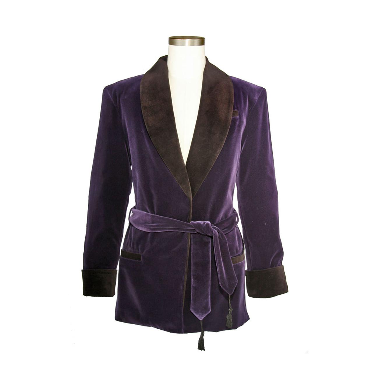 Women s Bilberry Purple Velvet Smoking Jacket with Black Lining e4fd1cf9b0