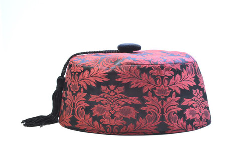 Wine brocade smoking cap available in several sizes.  Matching jacket and bow tie available.