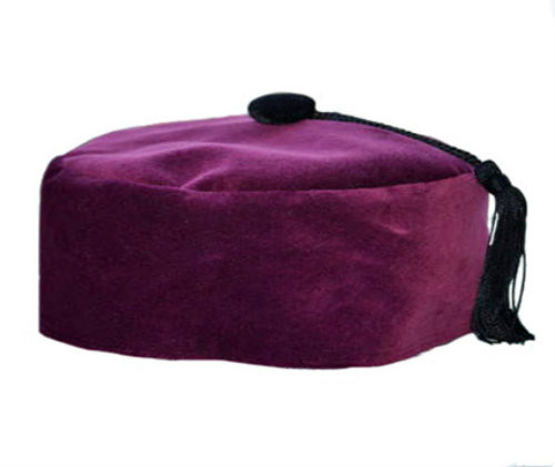 Wine Velvet Smoking Cap with Tassel