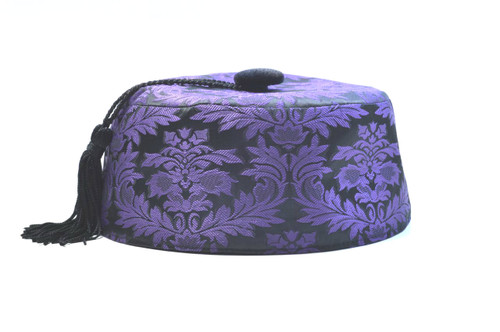 0e2332a66b5 Purple brocade smoking cap available in several sizes. Matching jacket and  bow tie available.