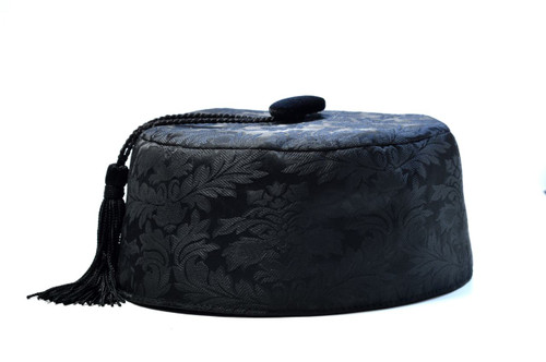 c30498bd75d Black brocade smoking cap available in several sizes. Matching jacket and  bow tie available.