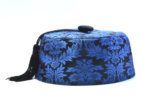 5a9da8ea9fc Blue Brocade Smoking Cap in several sizes. Matching jacket and bow tie  available