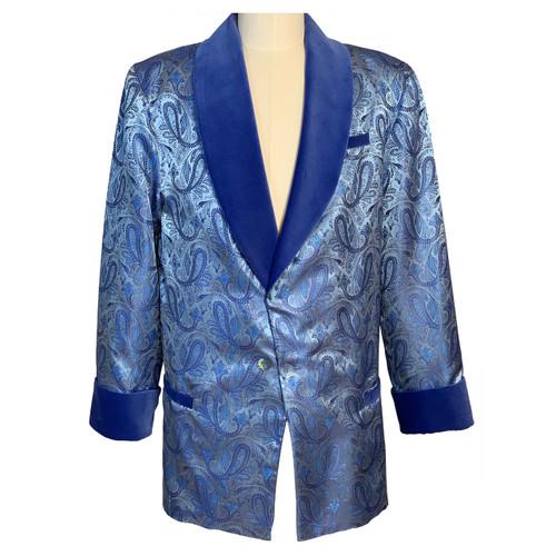 Men's Baby Blue Paisley Smoking Jacket